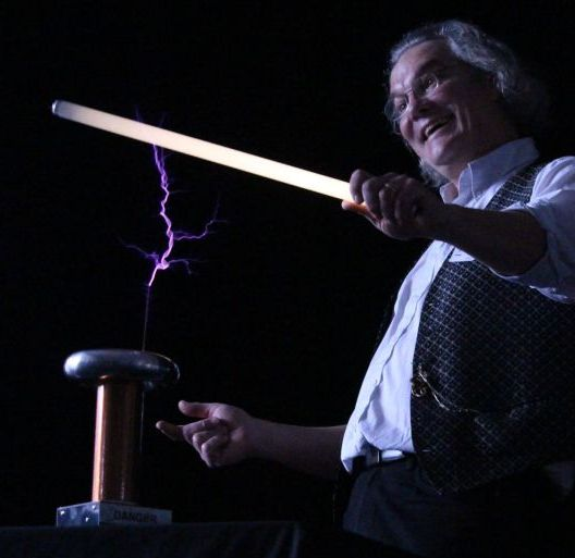 Ian B Dunne Tesla at a secondary school science show