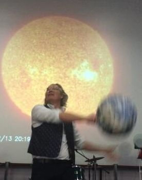 Ian B Dunne, the Sun and the Earth at a primary school science show in Lancashire.