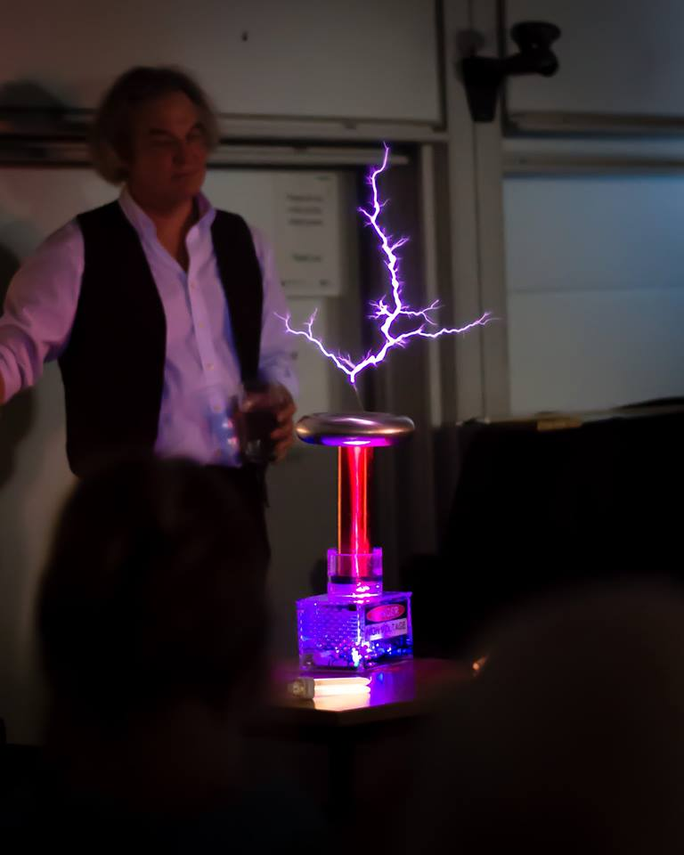 Ian B Dunne and his One Tesla at a science show