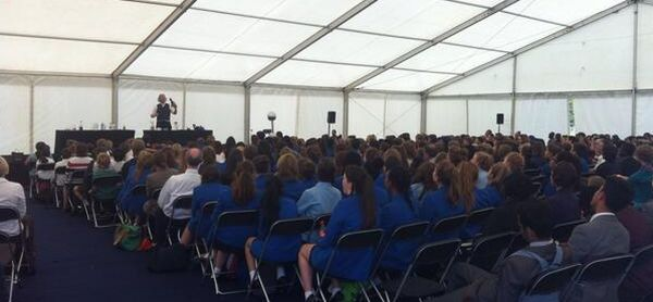Seconday School Science show, Ian B Dunne in a big tent at the Southern Big Bang